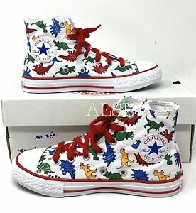 Converse Dinosaur Ctas High Canvas White Red Kid's Sneakers 663636C
