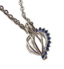 """September Blue Gem Pearl Cage Optional Stainless Steel Chain 18"""" 20"""" 24"""" 28"""""""