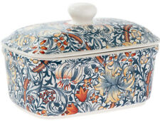 Golden Lily William Morris Design Butter Dish with Lid Ceramic Dining Table Gift