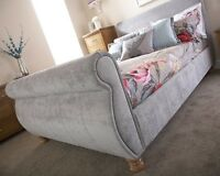 French Inspired Silver Fabric Sleigh Bedstead 4FT6 Double 5FT Kingsize