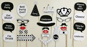 27 Piece Photo Booth Prop Set - Black & White Birthday Party - Aust Made