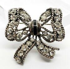 Lovely Vintage Silver Tone Black Enamel Glass Rhinestone Tied Ribbon Brooch Pin