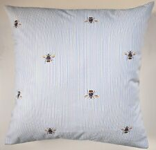 """Cushion Cover in Joules Blue Bee Stripe 16"""""""