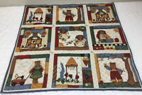 Country Quilt Wall Hanging, Printed, Teddy Bears, Birds, Hearts, Bee Keeps