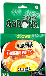 Amber Glow in the dark Crazy Aaron's Thinking Putty Large 4 inch tin 3.2 oz