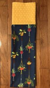 Homemade Flannel Hanging Plants On Blue Pillowcase - handmade, king size