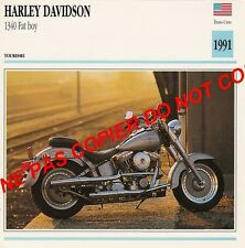 HARLEY-DAVIDSON 1340 FAT BOY  USA    1991 FICHE MOTO