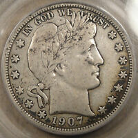 1907-D Barber Half Dollar 50c PCGS Certified VF25 some spots
