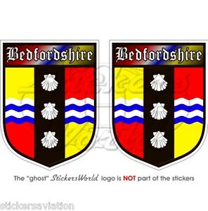 """BEDFORDSHIRE County Bedford BEDS Shield 75mm(3"""") Vinyl Bumper Stickers-Decals x2"""