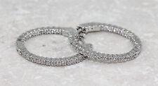 925 Sterling Silver Cubic Zirconia Hoop Earrings,  4.59g NEW 00003919