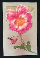 Antique Germany Postcard Art Nouveau Deco Lines Silk Pink Flower Gen Greeting