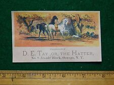 1870s-80s D E Taylor the Hatter Brown & White Horses Victorian Trade Card F23