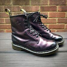 DR MARTENS 1460 8-Eye Metallic Purple Leather Ankle Boots - 6 UK 8 US 39 EU Docs