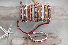 10 PIECES NEW MIX LEATHER SURFER BRACELETS ORANGE RED BEIGE WHOLESALE BNIP /b084
