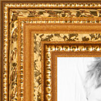 """ArtToFrames Custom Picture Poster Frame Beaded Gold 1"""" Wide Wood"""