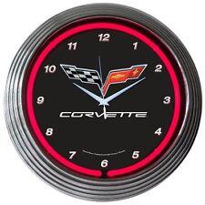 """Corvette C6 Checkered Neon Clock 15""""x15"""""""