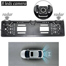 EU Europrean Car RV License Plate Frame Backup Reverse Camera Parking Sensors