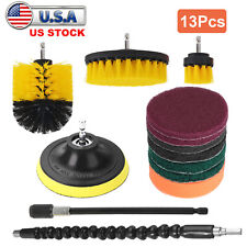 13pcs Cleaning Kit Drill Brush Attachment Set Power Scrubber Pad Grout Floor Tub