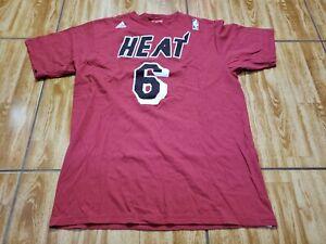 Adidas Lebron James Miami Heat Shirt Adult Large Red Basketball NBA Mens