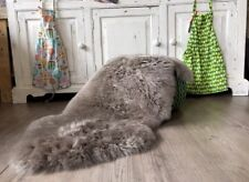 Genuine Mink Taupe Real Sheepskin Rug Plush UK Seller STUNNING Gray Grey PLUSH
