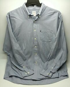 Brooks Brothers 346 Mens Dress Shirt Size Large Blue Button Up Pocket