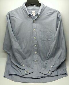 Brooks Brothers 346 Mens Dress Shirt Size Large Blue Button Up Pocket