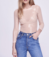 Free People Intimately Diamond Eyes Sequin Blouse Top Nude Sz XS NEW NWT 206