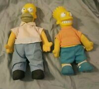 "Vintage 1990 The Simpson's Homer & Bart  Dolls Used 10""  & 9"" Tall"