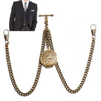 Brand New Bronze Colour Double Albert Pocket Watch Fob Chain With Locket