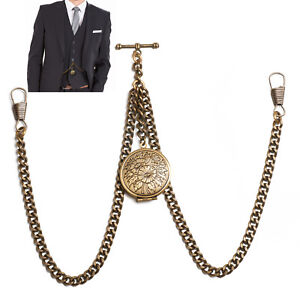 Peaky Blinders Bronze Colour Double Albert Pocket Watch Fob Chain With Locket
