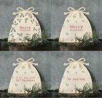 Merry Christmas Drawstring Gift Bag Vintage Santa Mini Sack Bag By East Of India