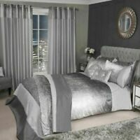 Crushed Velvet Sparkle Glitter Shimmer Duvet Quilt Cover Bedding Set Silver Grey