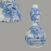 Antique Meiji Period 19C Double Gourd Japanese Hirado Vase Birds of Prey