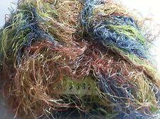 Plymouth Coloura Metallic Sparkle Long Eyelash Yarn #612 Brick Blue Green 50gram