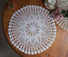 Hand Crochet Lace Doily Placemat Doilies Tablecloth Cotton Round 60CM White/Ecru