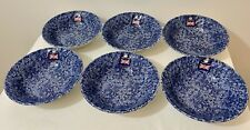 Churchill Wessex China England CALICO Blue Cereal Bowls - Set of Six