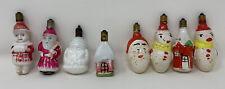 Vintage Christmas Milk Glass Santa Snowman & Other Figural Light Bulb Lot Of 8