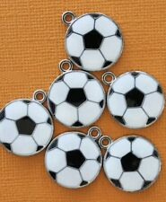 5 Pieces Soccer Ball Charms Enamel Black and White