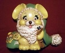 Cast Iron Door Stop - Whimsical Yellow Dog w/ White Beard-Hat-Toy Bag-Skis XMAS