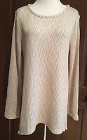 NWT Womens Cream Stone Long Sleeve Chelsea & Theodore Textured Top Sweater Large