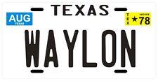 Waylon Jennings 1978 Souvenir Texas License Plate