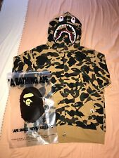 Men's A Bathing Ape Bape 1st Camo Full Zipped Shark Hoodie, Yellow, Size L