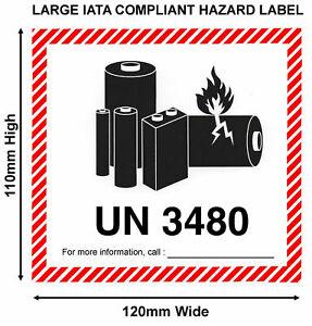 New IATA Lithium Battery Hazard Labels LARGE 120x110 UN 3480 (No Tel)