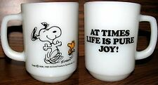 "Vintage Snoopy Cup Anchor Hocking Fire King ""At Times Life Is Pure Joy!"" RARE"