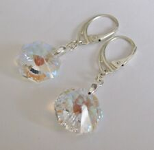 Octagonal Earrings made with Swarovski Crystal Aurora & Sterling Silver