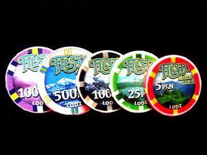 es.5x CASINO FIESTA POLSKA Lodz, Polonia /5 pc Gambler Chips / vea fotos  (#349)