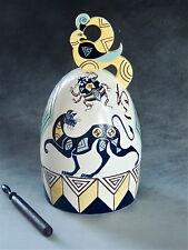 Mariko Swisher contemporary artist sculptural white earthen bell, cats and bird