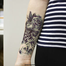 1 x ARM TATTOO DUNKEL BLAU Temporäres Tattoo Totenkopf mit Lotus Rosen Z039