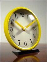 alte Gelbe Tisch Uhr Ø 14cm 70er 80er Jahre Quartzwerk vintage & alt