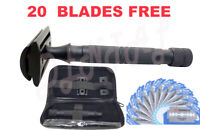 Safety Razor Double Edge Black Razors + 20 Free Blades/Pouch travel kit set
